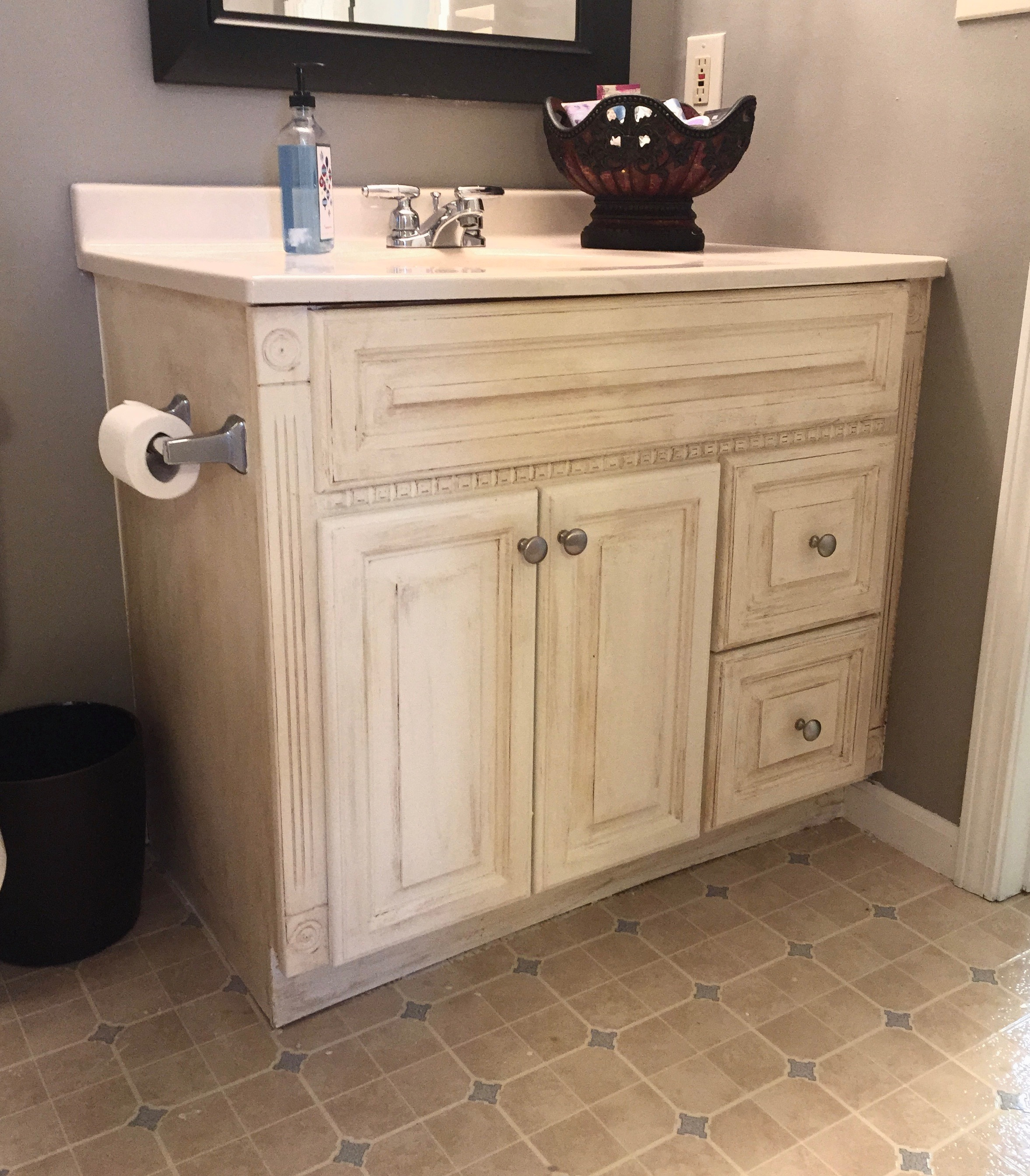 Guest Bathroom Oak Vanity Makeover Whimsical September
